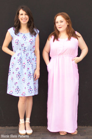 Catalina Dress Pattern by Blank Slate Patterns - Variations include front placket or not, cap sleeves or tank bodice, and knee or maxi length
