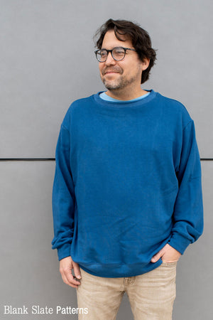 Men's sweatshirt sewing pattern with crew neck