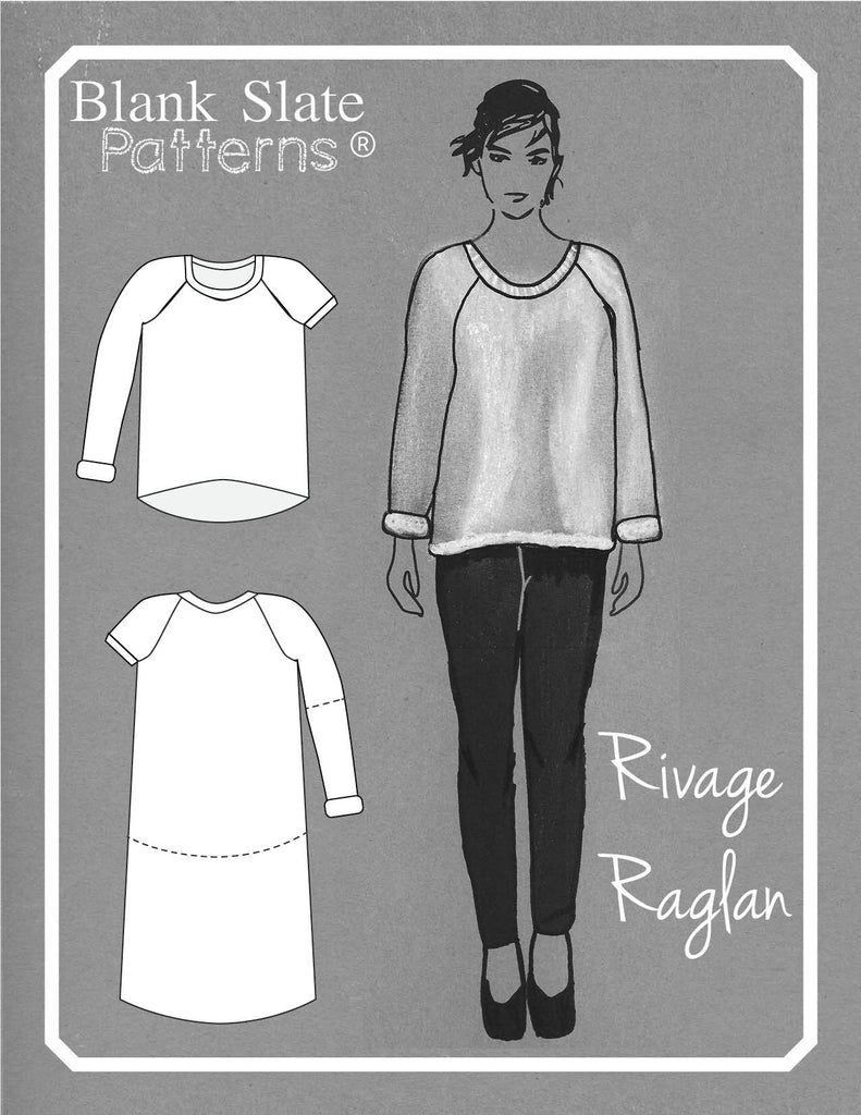 Rivage Raglan - women's raglan t-shirt, sweatshirt, and dress sewing pattern by Blank Slate Patterns. Line drawing.
