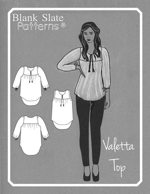 Cover Line Drawing - Valetta Top - Peasant Top Sewing Pattern by Blank Slate Patterns