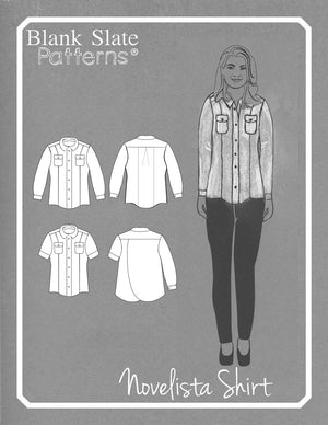 Cover and Line Drawing - Novelista Shirt Sewing Pattern for Women - Button Down Shirt Sewing Pattern by Blank Slate Patterns