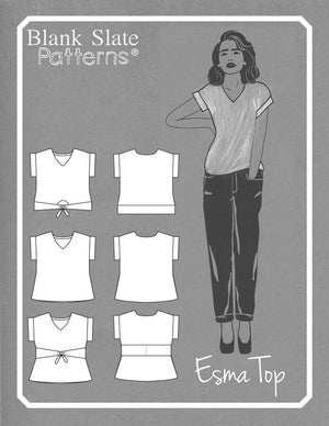Line drawing - Esma - Boxy top woven t shirt pattern by Blank Slate Patterns