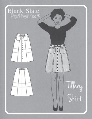 Cover - Tillery Skirt by Blank Slate Patterns - Snap Front Skirt Sewing Pattern - Denim Mini Skirt Pattern