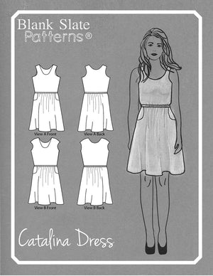 Line Drawing -  Catalina Dress Pattern by Blank Slate Patterns