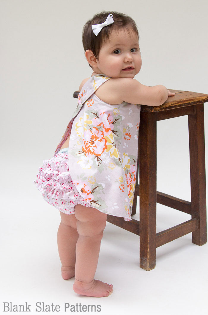 eefed6fb4 Criss Cross Pinafore Dress and Buttercup Bloomers - Blank Slate Patterns