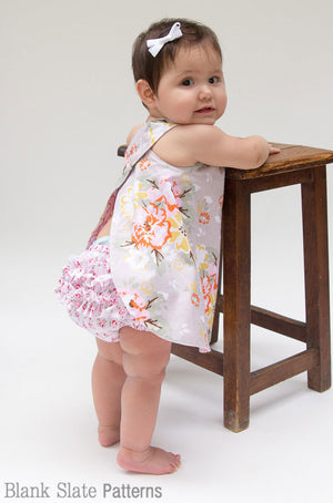 Criss Cross Pinafore Dress and Buttercup Bloomers - Baby Girl dress sewing pattern by Blank Slate Patterns