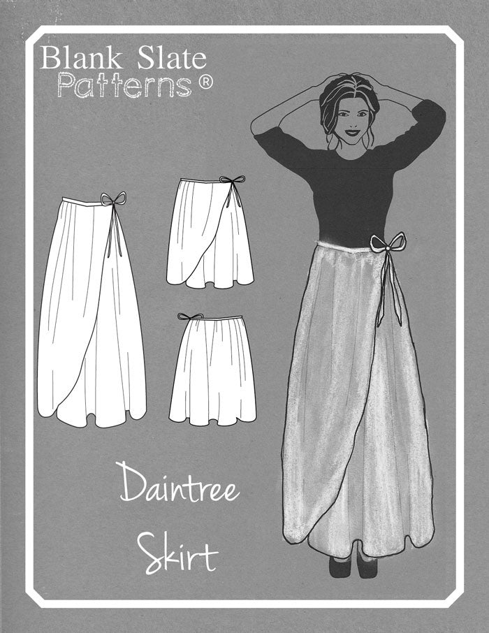 Line Drawing - Daintree Skirt by Blank Slate Patterns - Wrap Skirt Sewing Pattern