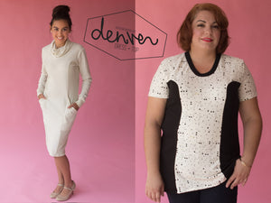 Denver sewing pattern by Blank Slate Patterns. Women's fitted dress with cowl neck and long sleeves and flared tunic with short sleeves