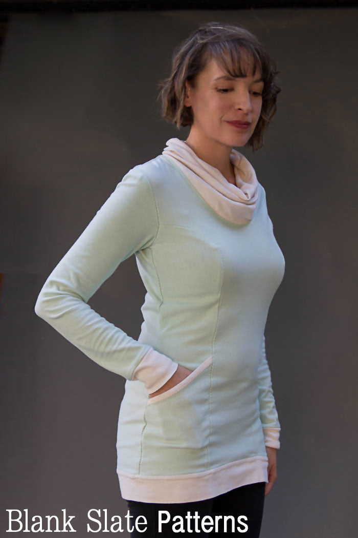 Denver sewing pattern by Blank Slate Patterns. Women's fitted tunic length with cowl neck and long sleeves