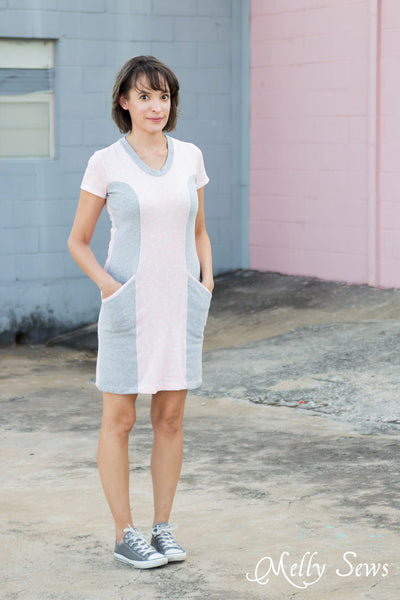 Denver sewing pattern by Blank Slate Patterns. Fitted dress with short sleeves and scoopneck options.