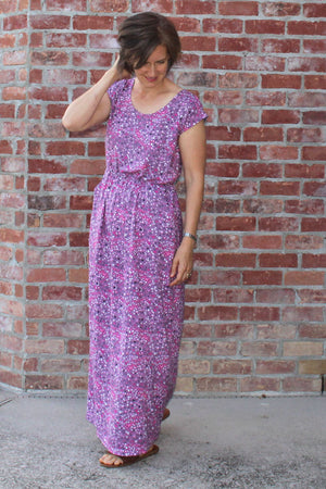 Catalina Dress Pattern by Blank Slate Patterns - Cap Sleeve Maxi version