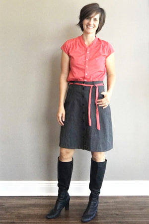 Knee Length Version - Tillery Skirt by Blank Slate Patterns - Snap Front Skirt Sewing Pattern - Denim Mini Skirt Pattern