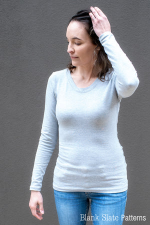 Women's Long Sleeve Fitted T-shirt Sewing Pattern - Abrazo Tee by Blank Slate Patterns