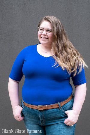 Women's Plus Size Fitted T-shirt Sewing Pattern - Abrazo Tee by Blank Slate Patterns