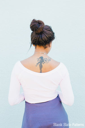 Back view - Fairelith Pattern - Ballet neck raglan t-shirt sewing pattern by Blank Slate Patterns