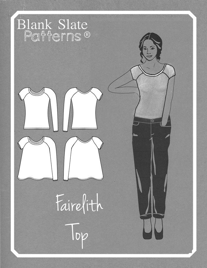 Line drawing - Fairelith Pattern - Ballet neck raglan t-shirt sewing pattern by Blank Slate Patterns