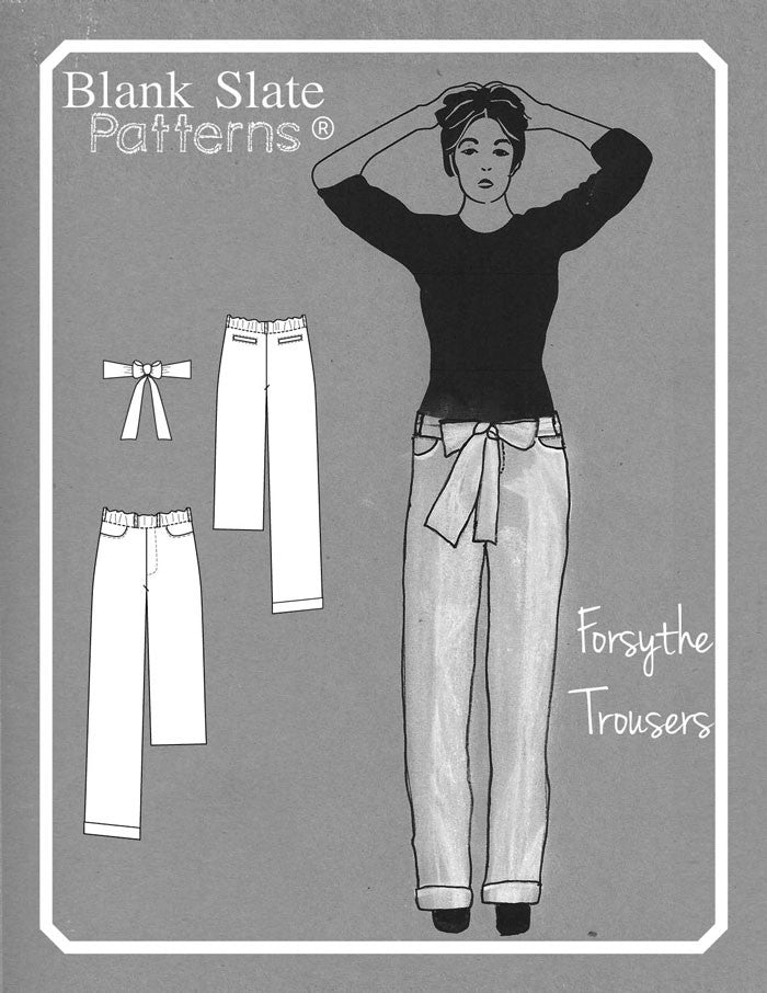 Line Drawing and Cover Image - Forsythe Trousers and Capris - Women's Trouser sewing pattern by Blank Slate Patterns