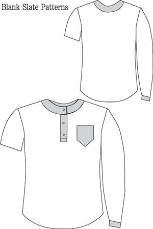 Hipster Henley pdf sewing pattern from Blank Slate Patterns line drawing