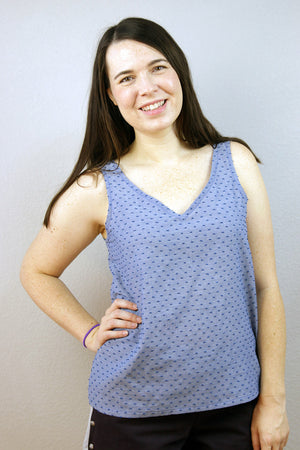 Easy to sew woven tank sewing pattern by Blank Slate Patterns - V neck