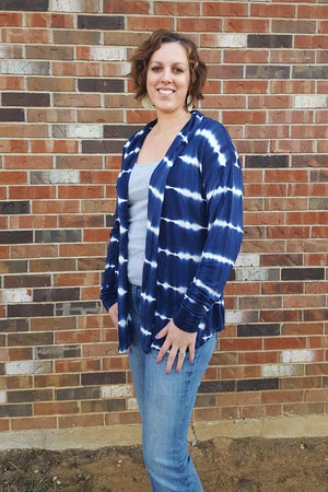 Tie Dye Stripes - Sora Pattern - Shawl collar sweater - pullover cardigan sewing pattern - women's cardigan sewing pattern - Blank Slate Patterns