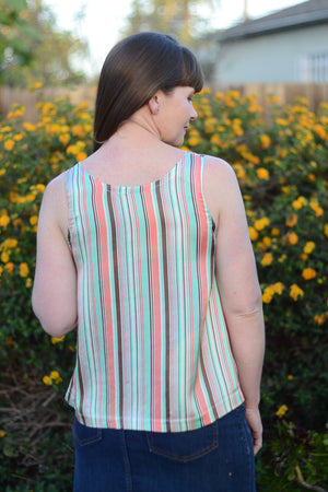 Easy to sew woven tank sewing pattern by Blank Slate Patterns back view