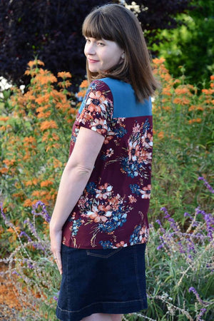 Floral T shirt with Contrast Yoke - Juniper Jersey - Women's T-Shirt Sewing Pattern by Blank Slate Patterns