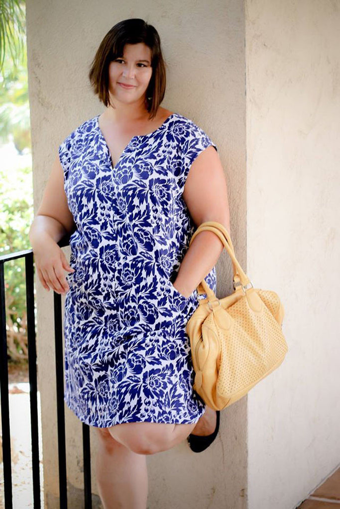 Blue and White Floral Dress - Leralynn Dress - by Blank Slate Patterns - Women's Shift Dress Sewing Pattern
