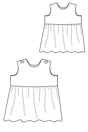 Line Drawing - Raleigh Dress Pattern -  Baby Dress Pattern by Blank Slate Patterns