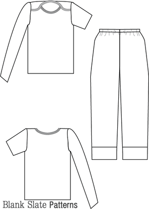 Line Drawing - Snuggle Pajamas Sewing Pattern by Blank Slate Patterns for Babies, Boys and Girls