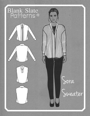 Line Drawing - Sora Pattern - Shawl collar sweater - pullover cardigan sewing pattern - women's cardigan sewing pattern - Blank Slate Patterns