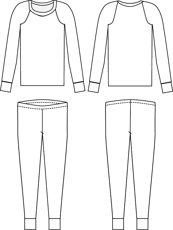 Line Drawing - Dreamtime Jammies - Kids Pajama Pattern from Blank Slate Patterns
