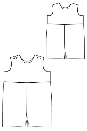 Line Drawing - Raleigh Romper sewing pattern - Baby Boy Romper Pattern by Blank Slate Patterns