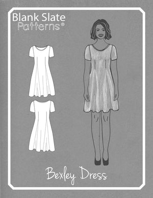Line Drawing - Bexley Dress - T-shirt dress pattern by Blank Slate Patterns