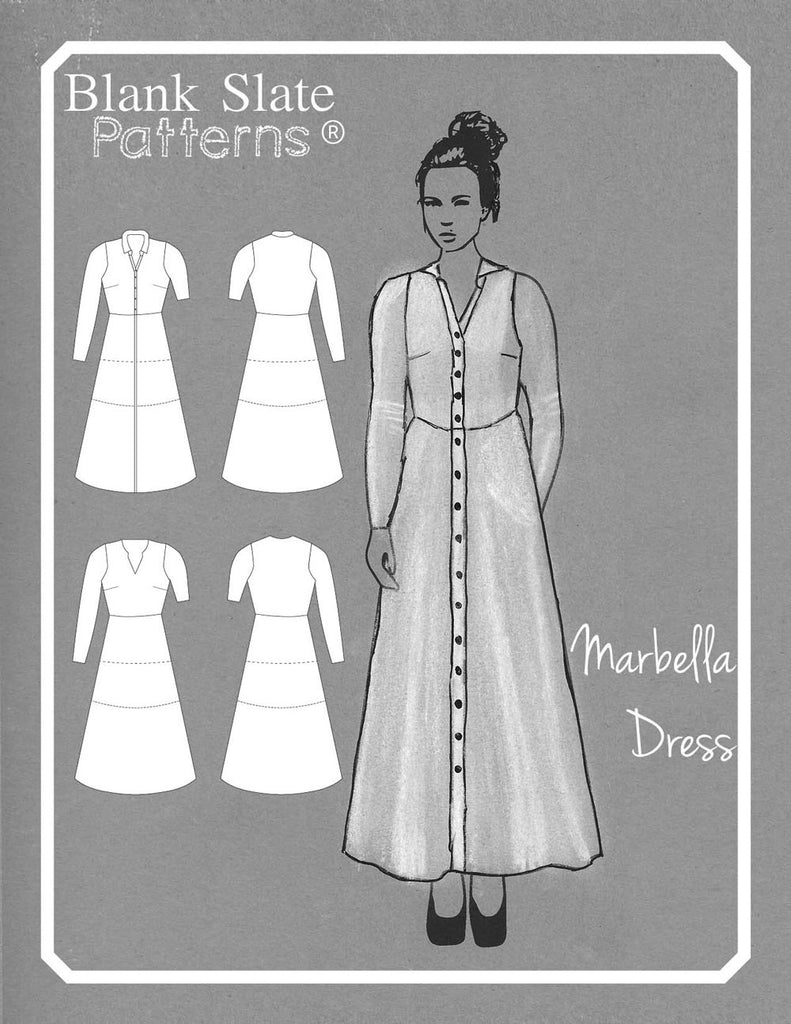 Line Drawing -  Marbella Dress sewing pattern by Blank Slate Patterns - Women's Knit Dress with Collar and Placket or Pullover with V Neck