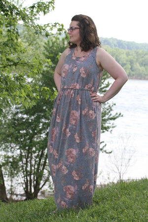 Catalina Dress Pattern by Blank Slate Patterns - Tank Maxi version with button placket
