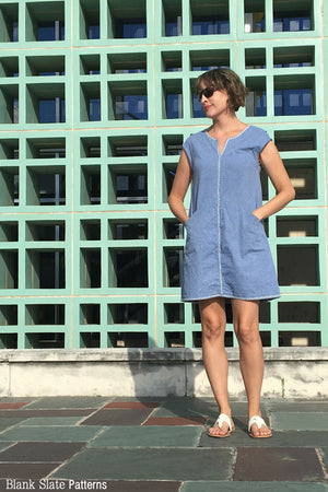 A Line Chambray Dress - Leralynn Dress - by Blank Slate Patterns - Women's Shift Dress Sewing Pattern