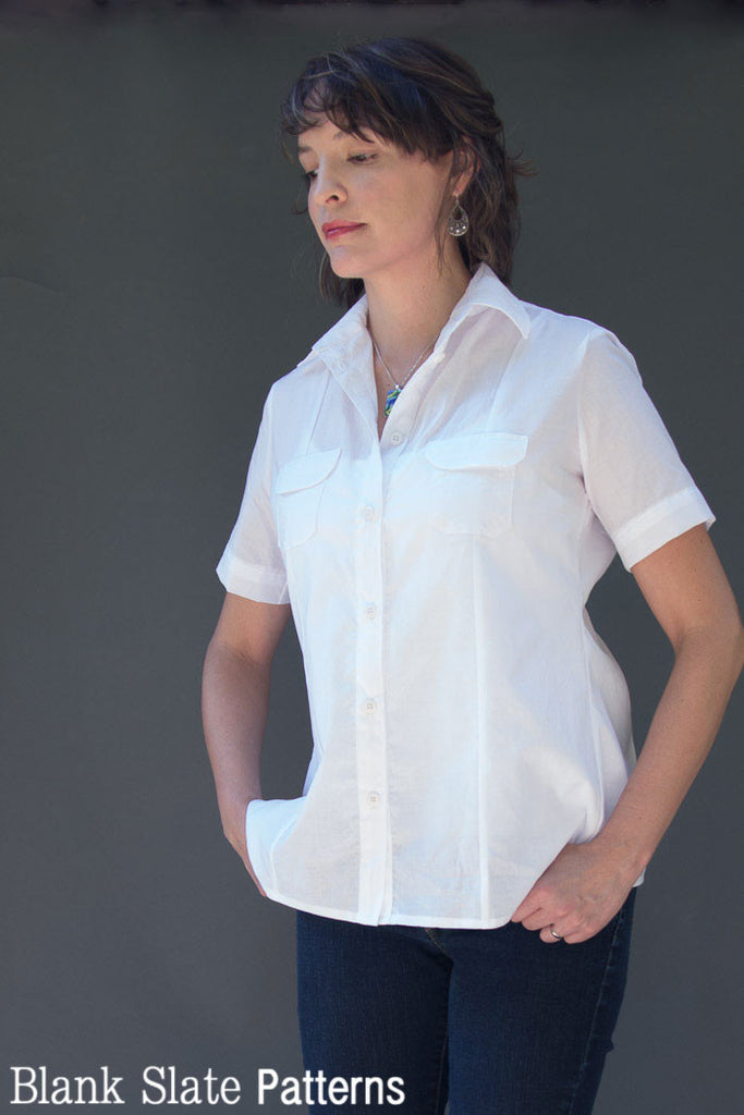 Short Sleeve Version Front View - Novelista Shirt Sewing Pattern for Women - Button Down Shirt Sewing Pattern by Blank Slate Patterns