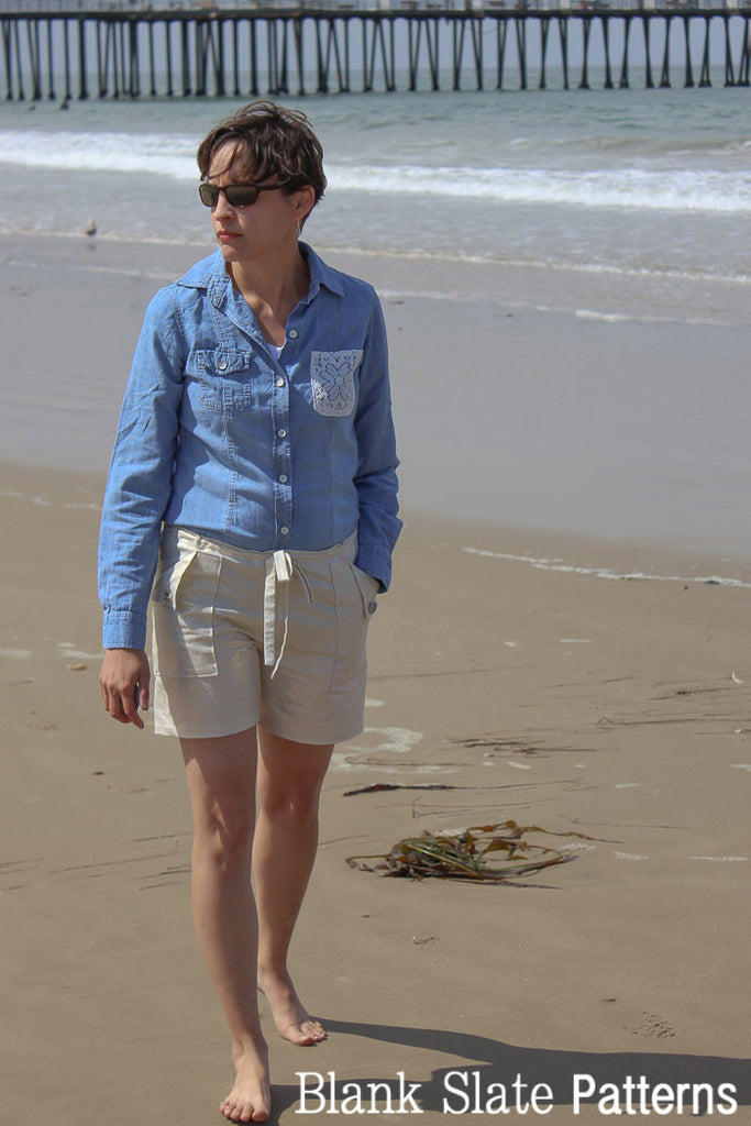 Take a walk on the beach in these Oceanside Shorts - Shorts Sewing Pattern by Blank Slate Patterns