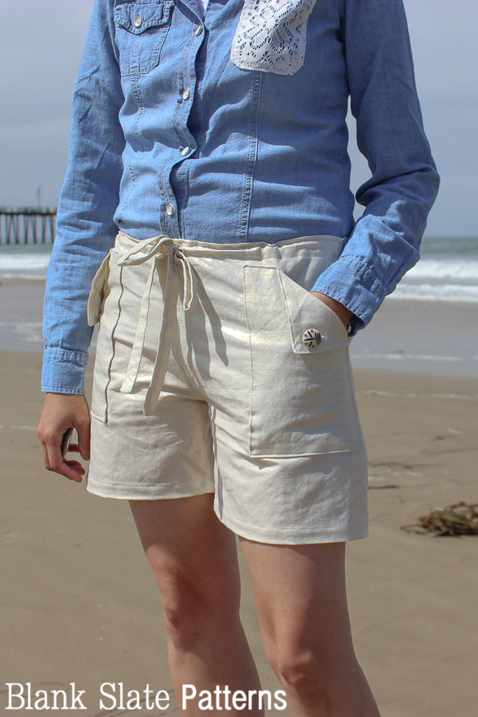 Oceanside Shorts Sewing Pattern - Drawstring Waist Shorts by Blank Slate Patterns