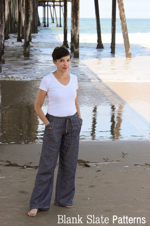 Oceanside Pants - casual pants sewing pattern by Blank Slate Patterns