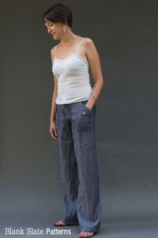 Oceanside Pants Sewing Pattern - Drawstring Waist Pants by Blank Slate Patterns