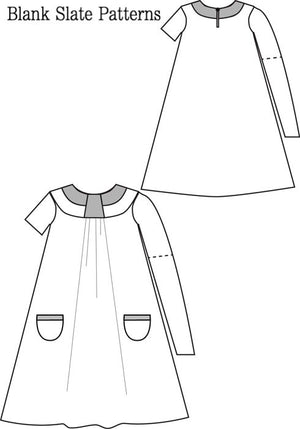 Pristine Swing Dress pdf sewing pattern by Blank Slate Patterns line drawing