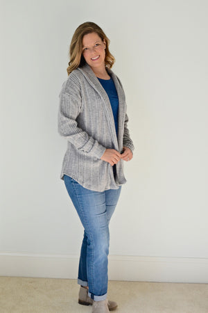 Ribbed Sweater Knit - Sora shawl collar sweater - pullover cardigan sewing pattern - women's cardigan sewing pattern - Blank Slate Patterns