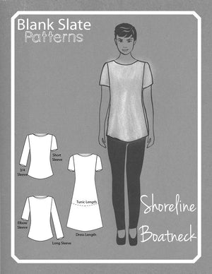 Shoreline Boatneck pdf sewing pattern by Blank Slate Patterns line drawing