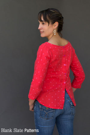 Button Back Hack - Shoreline Boatneck pdf sewing pattern by Blank Slate Patterns