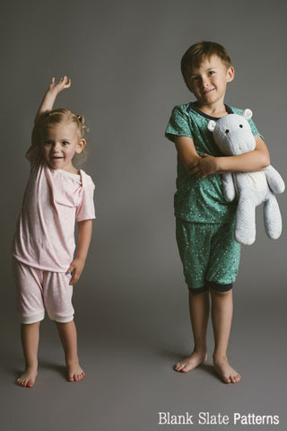 Sleepover Pajamas - Boys and Girls Summer Pajamas Sewing Pattern by Blank Slate Patterns