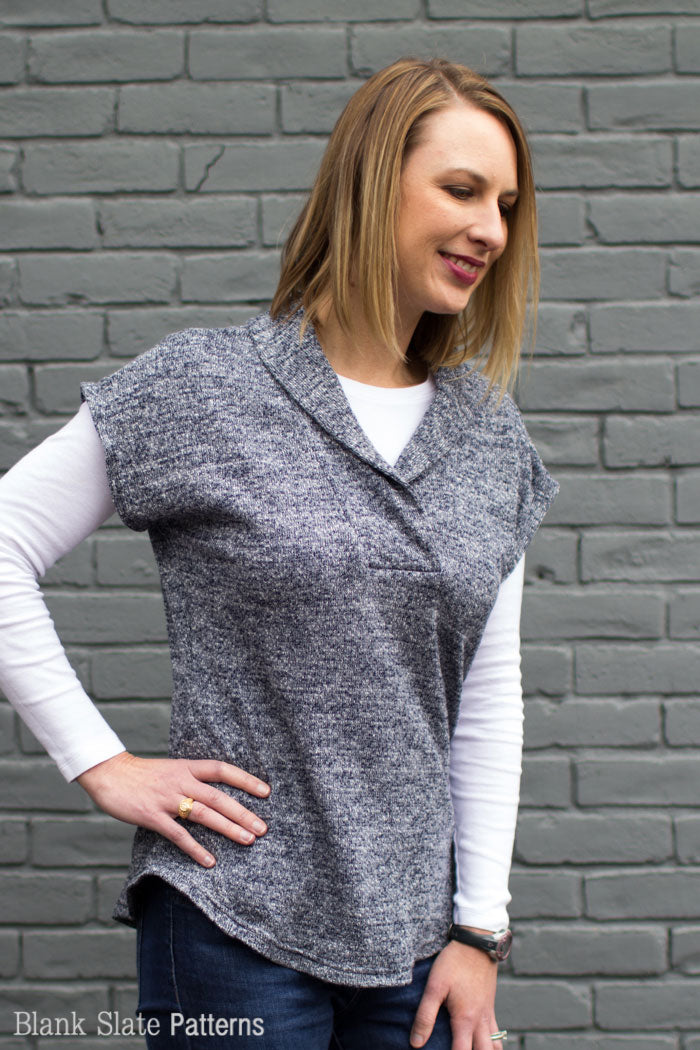 Sora Pattern - Shawl collar sweater - pullover cardigan sewing pattern - women's cardigan sewing pattern - Blank Slate Patterns