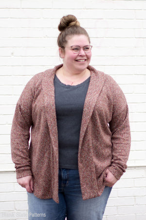 Plus size cardigan - Sora Pattern - Shawl collar sweater - pullover cardigan sewing pattern - women's cardigan sewing pattern - Blank Slate Patterns