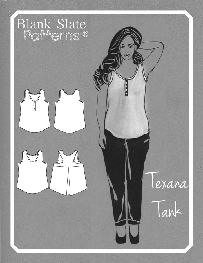 Line Drawing - Texana Tank - Knit Tank Top Sewing Pattern by Blank Slate Patterns