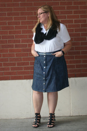 Knee-Length Version - Tillery Skirt by Blank Slate Patterns - Snap Front Skirt Sewing Pattern - Denim Mini Skirt Pattern